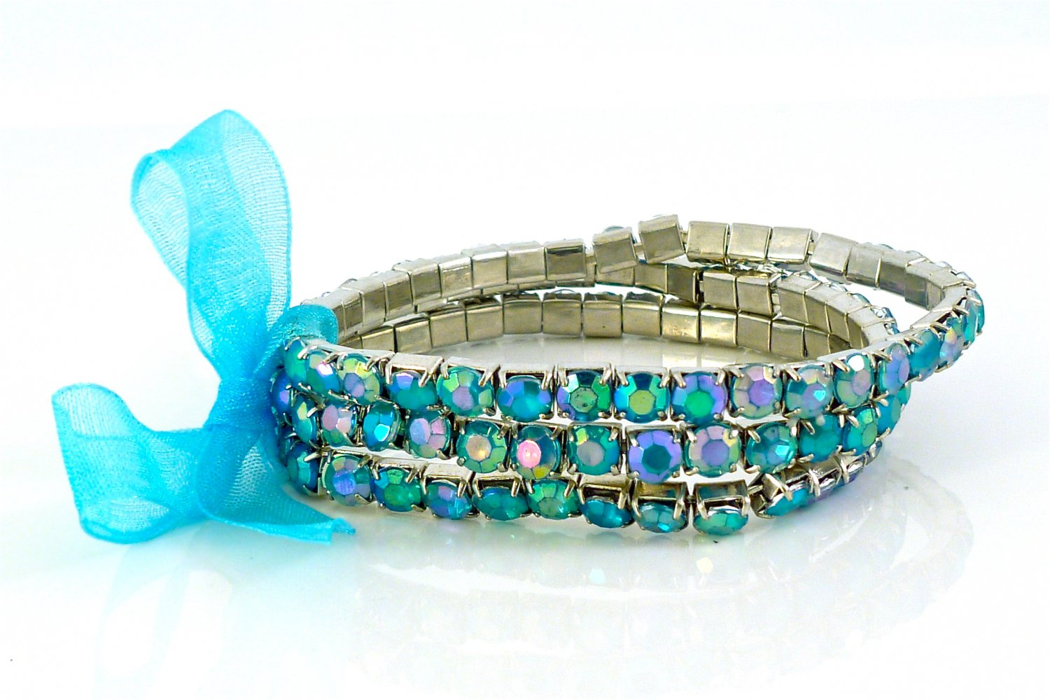 Pacific Opal Crystal Stretch White Gold Plated Rhinestone Bracelets