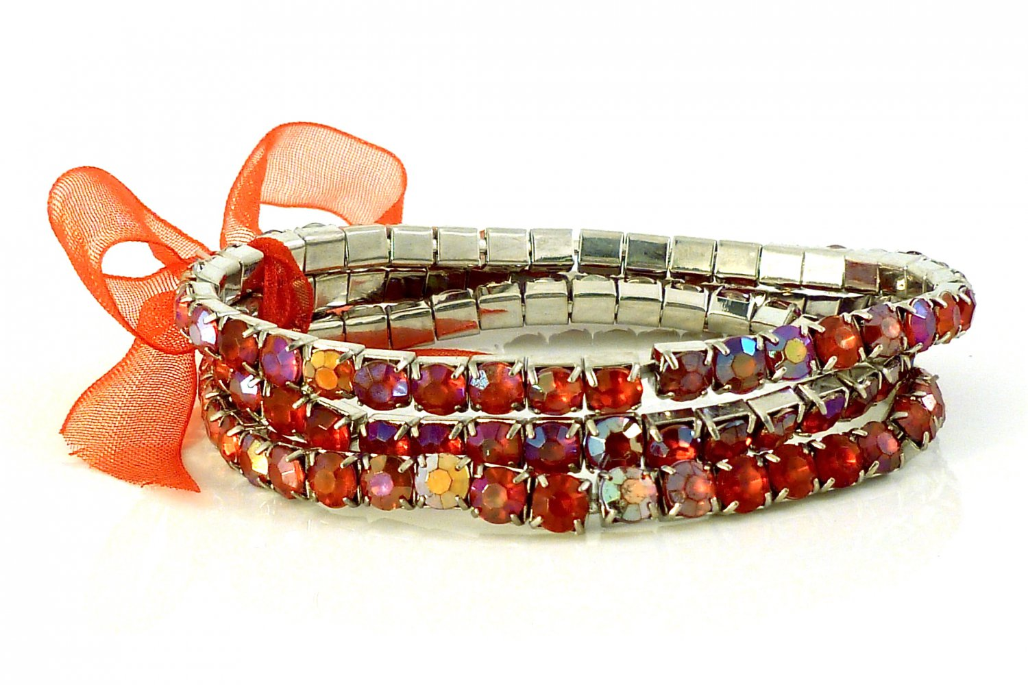 Siam Red Crystal Stretch White Gold Plated Rhinestone Bracelets