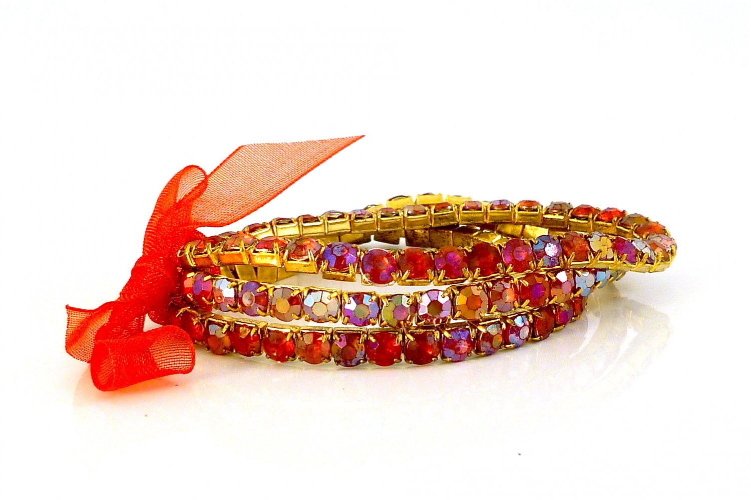 Siam Red Crystal Stretch Yellow Gold Plated Rhinestone Bracelets