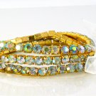 Crystal Rhinestone Stretch Yellow Gold Plated Bracelets