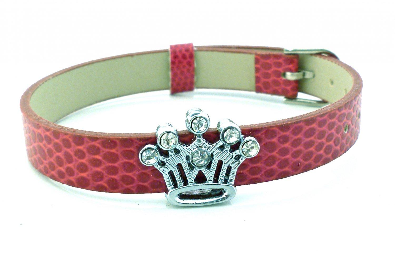 Crown Rhinestone Belt Buckle Style Slide Charm Bracelet - Dark Dusty Rose