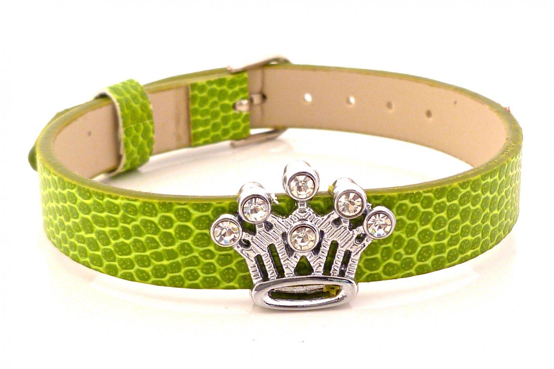 Crown Rhinestone Slide Charm Moss Green Belt Buckle Style Bracelet