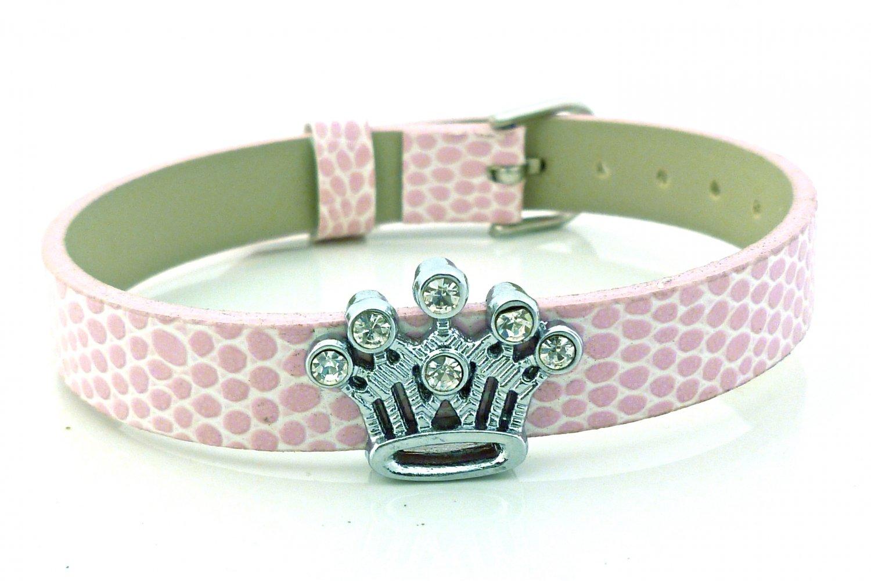 Crown Rhinestone Slide Charm Pink Belt Buckle Style Bracelet