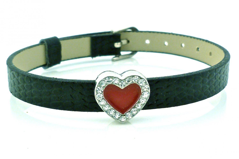Heart Rhinestone Belt Buckle Style Slide Charm Bracelet - Black