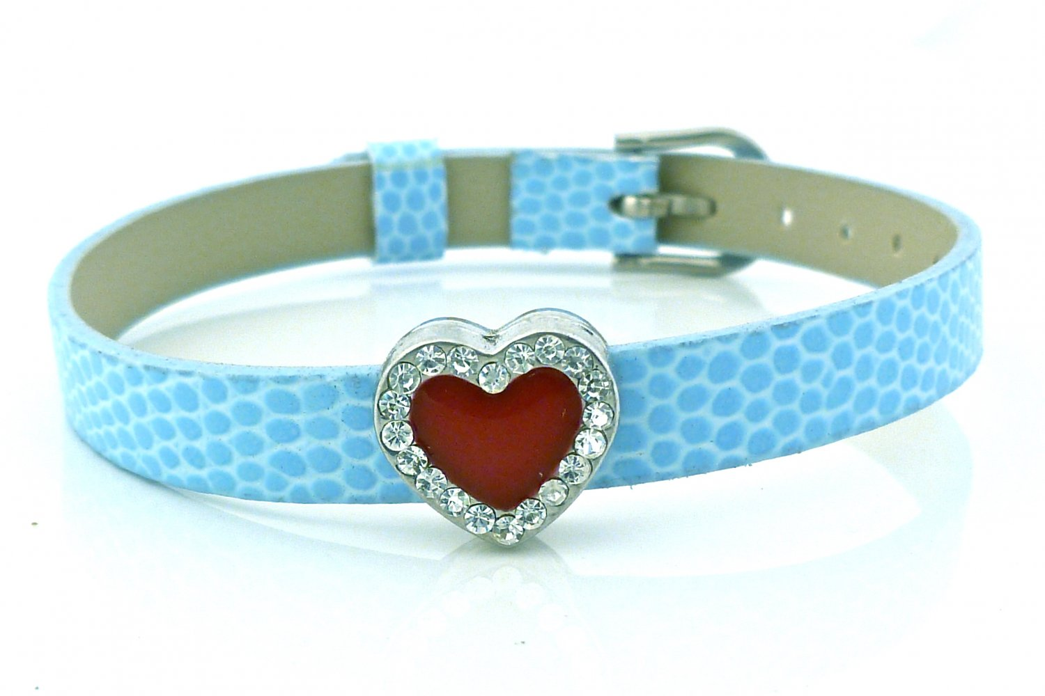 Heart Rhinestone Belt Buckle Style Slide Charm Bracelet - Cornflower Blue