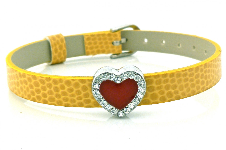 Heart Rhinestone Belt Buckle Style Slide Charm Bracelet - Marigold Yellow