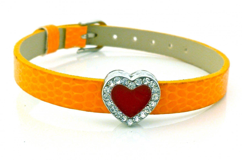 Heart Rhinestone Belt Buckle Style Slide Charm Bracelet - Pumpkin Orange