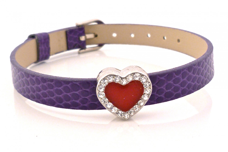Heart Rhinestone Belt Buckle Style Slide Charm Bracelet - Purple Plum