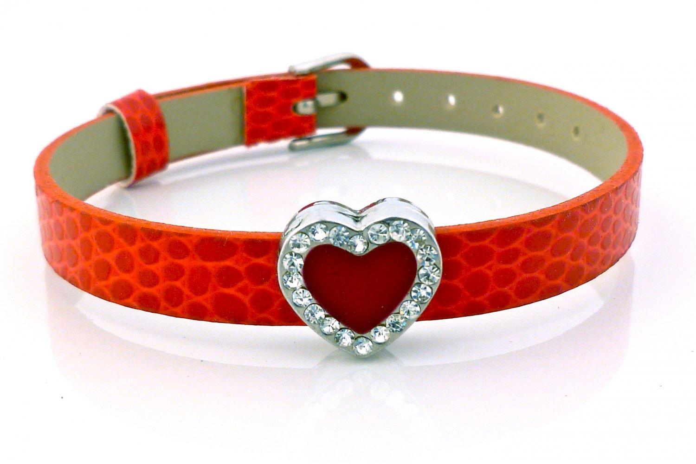 Heart Rhinestone Belt Buckle Style Slide Charm Bracelet - Bright Red