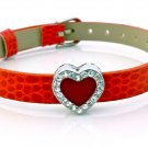 Heart Rhinestone Belt Buckle Style Slide Charm Bracelet - Bright Red