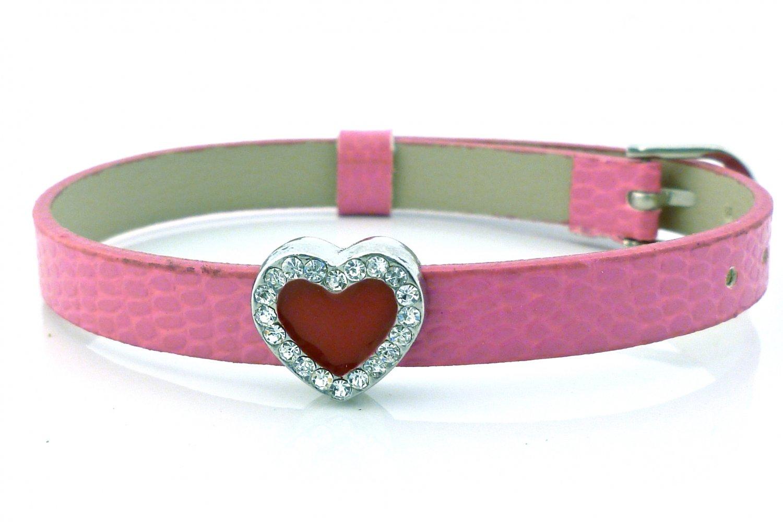 Heart Rhinestone Belt Buckle Style Slide Charm Bracelet - Hot Pink