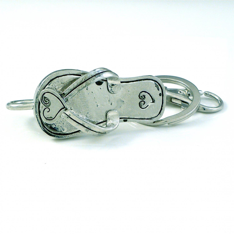 Silver Heart Sandal Flip Flops Key Ring Holder Finder Keychain