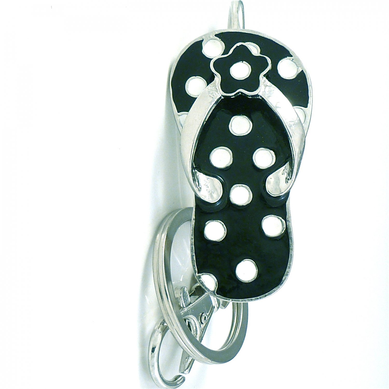 Black & White Polka Dot Flip Flops Key Ring Holder Finder Keychain
