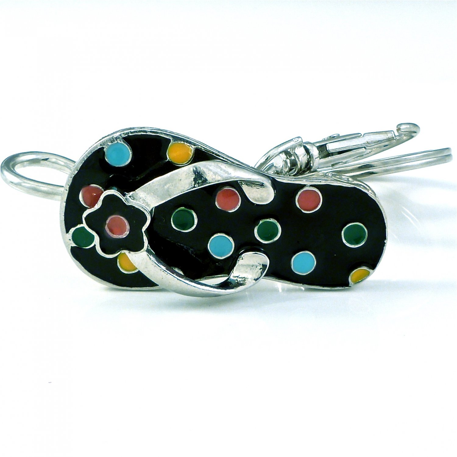 Black & Multi Polka Dot Sandal Flip Flops Key Ring Holder Finder Keychain