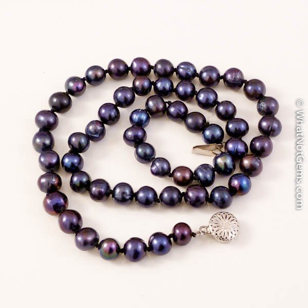 Black Natural Freshwater Pearl Necklace, Princess Length, Double Knotted 7mm