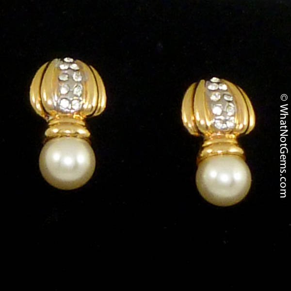 Majorica's Mikimi Pearl & Austrian Crystal Drop Earrings -Pierced
