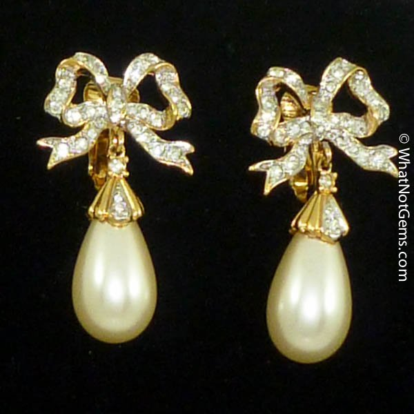 Majorica's Mikimi Pearl Teardrop Bow Clip Earrings