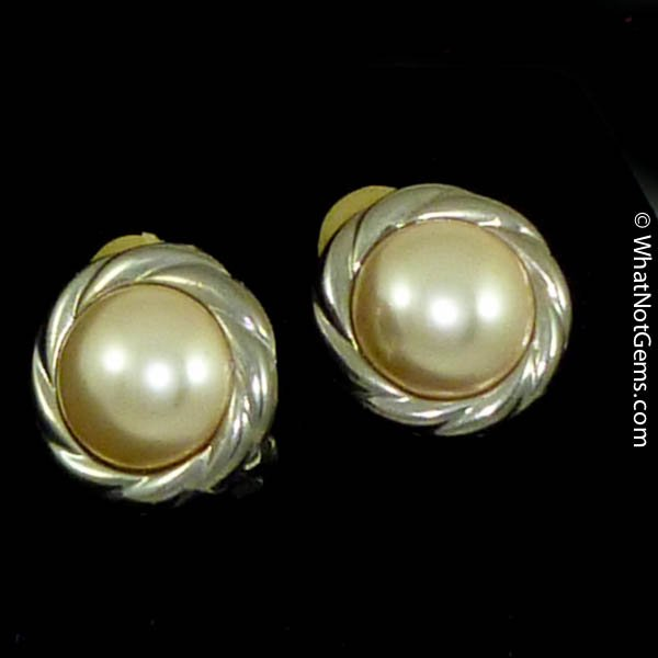 Majorica's Mikimi 14mm Mabé Pearl Silver Rope Clip Earrings