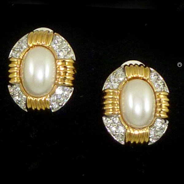 Majorica's Mikimi Pearl & Austrian Crystal Ribbed Clip Earrings