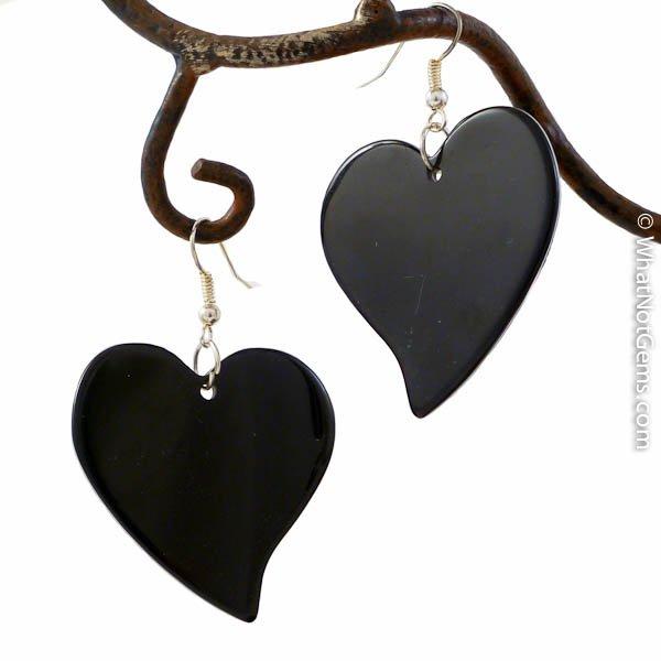 Poetry in Black Heart Earrings