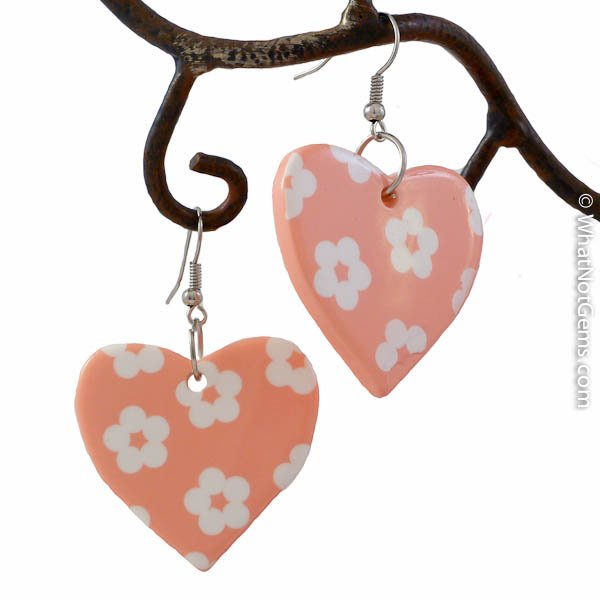 Large Pink and White Flower Power Heart Dangle Earrings