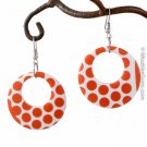 Red & White Polka Dot Hoop Earring