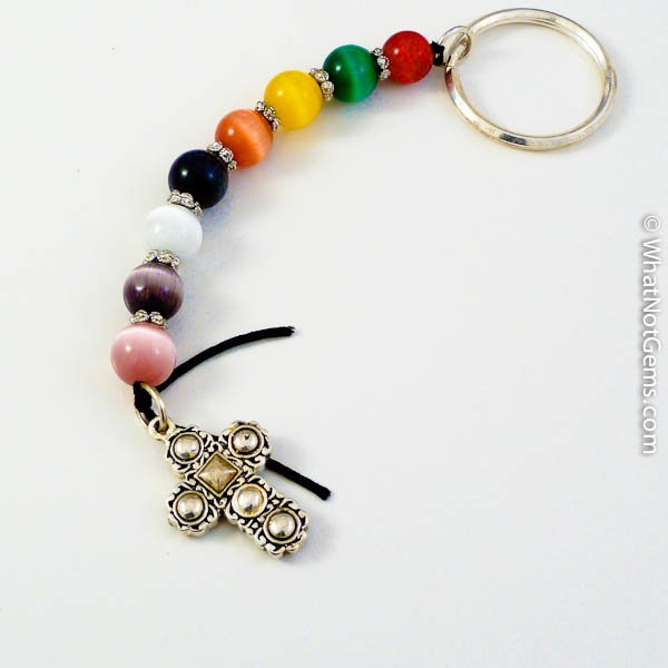 Cat's Eye Jellybean Prayer Key Chain, Cross Fob