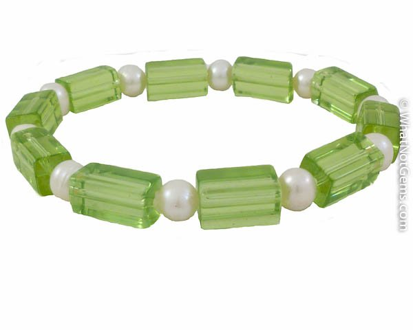 Freshwater White Pearl, Peridot Green Rectangular Beads Stretch Bracelet