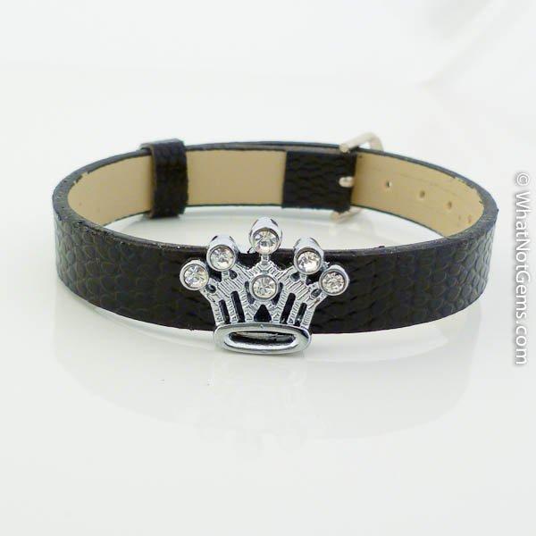 Crown Rhinestone Slide Charm Black Belt Buckle Style Bracelet