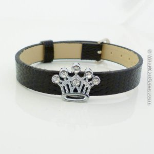 Crown Rhinestone Slide Charm Black Belt Buckle Style Bracelet
