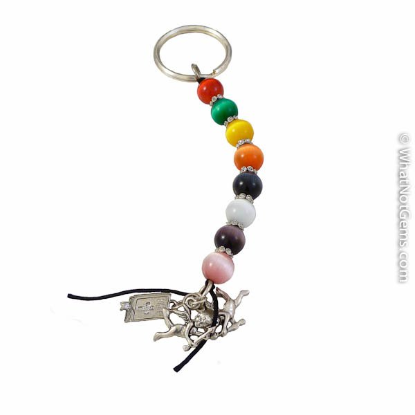 Cat's eye Jellybean Key Chain With Angels & Bible