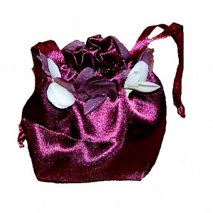 Flower Petal Topped Satin Bag - Burgundy