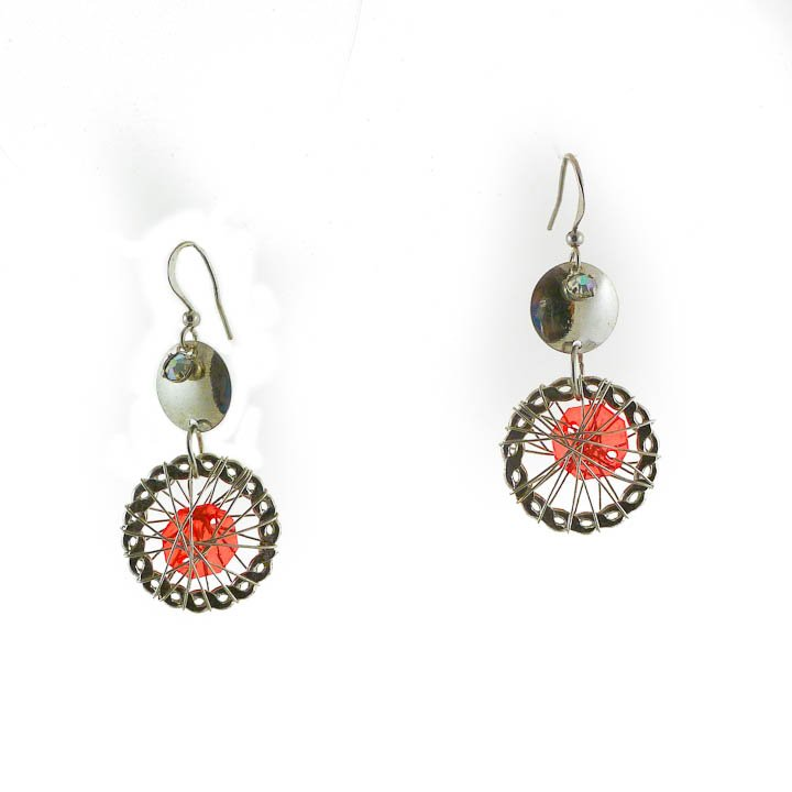 Small Red Faceted Silver Wire Dream Catcher Dangle Earrings