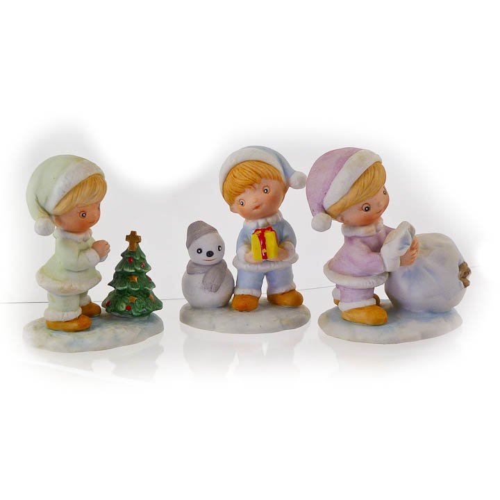 3 Playful Children Christmas Figurines by Homco 5613 circa 1970