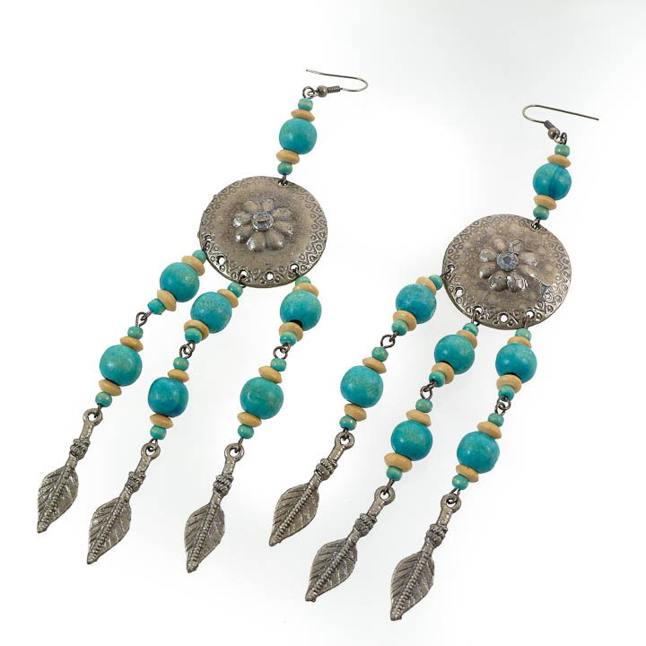 Shield & Arrow Turquoise Blue Earrings