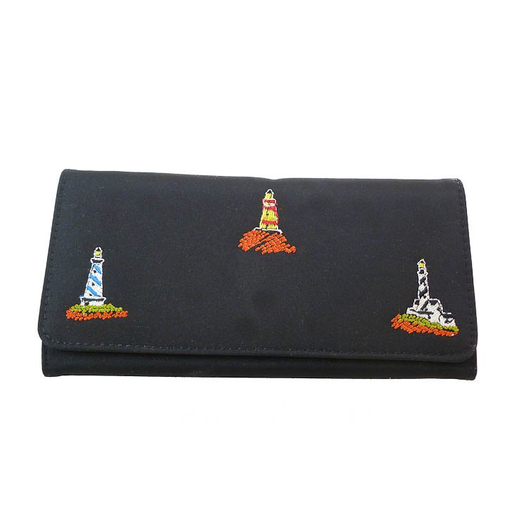 Embroidered Black Tri-fold Wallet - Lighthouse