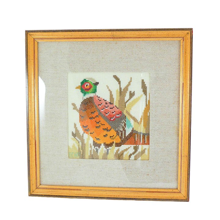 Framed Pheasant Embroidery