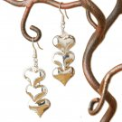Triple Polished Heart Dangle Earrings Fashion Earrings