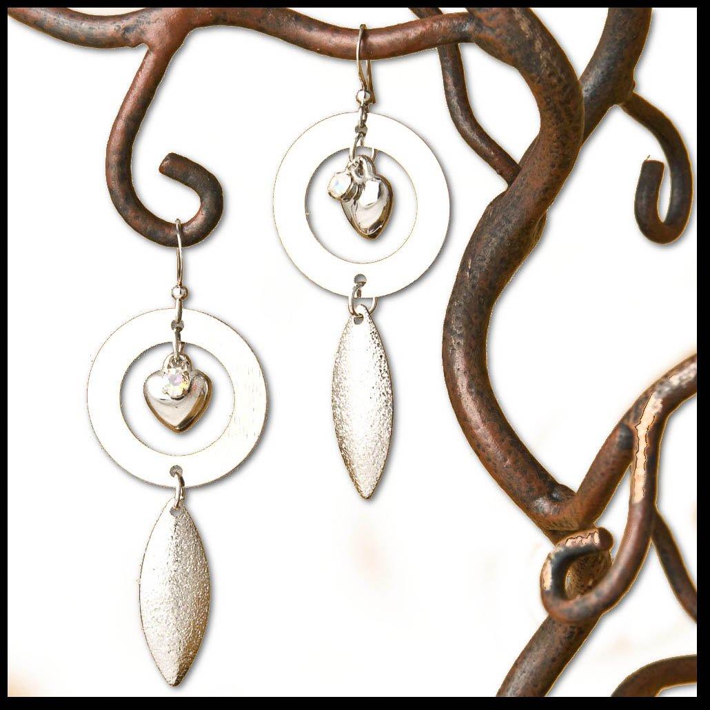 Silver Heart, Crystal Rhinestone, Circles, Feather Dangle Fashion Earrings