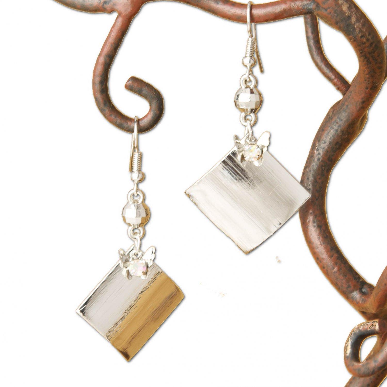 Silver Butterfly Square & Rhinestone Dangle Earrings