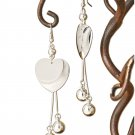 Long Polished Silver Heart & Ball Dangle Earrings