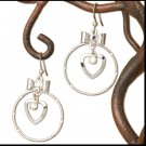 Silver Bow Heart & Hoop Dangle Earrings