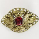 Art Nouveau Ruby Stone Brooch with C-Clasp