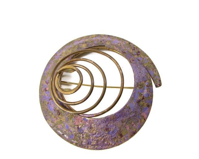 Swirl of Brass Lilac Brooch Scarf Pin
