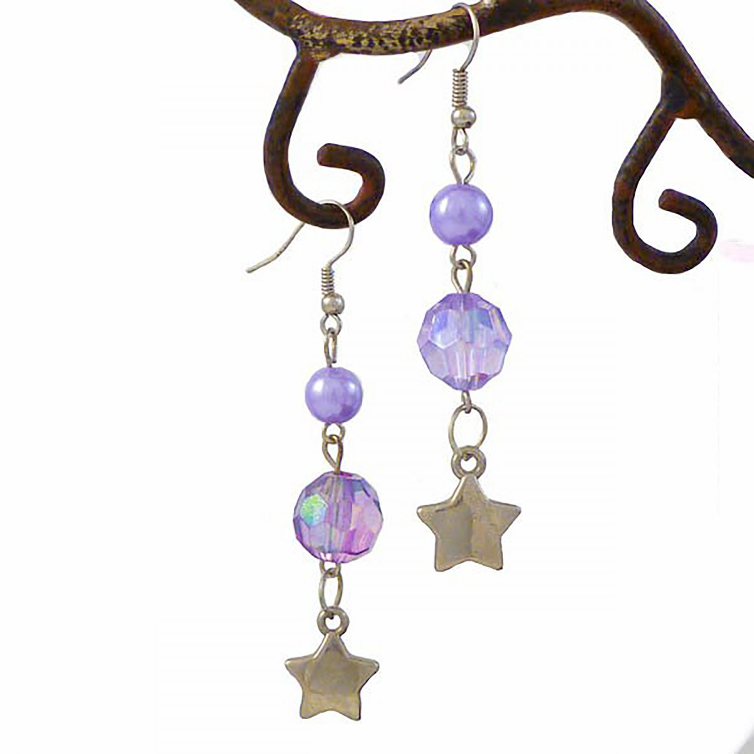 Lilac Stars & Crystals A Winner French Wire Dangle Earrings