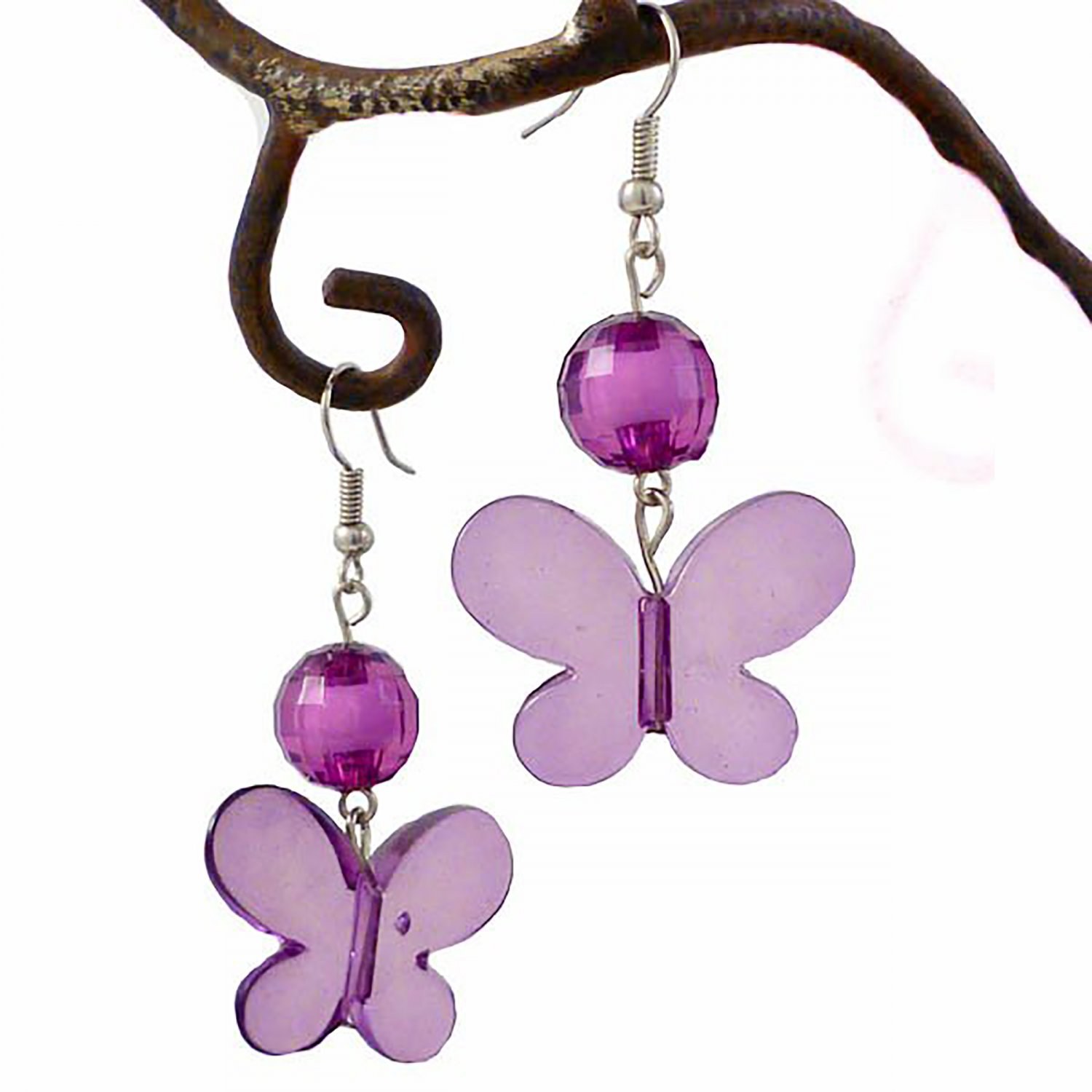 Violet Butterfly & Crystal Bead Dangle Earring