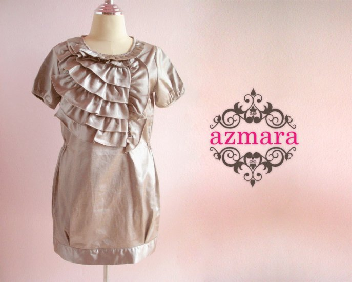 Elegant Bronze Dress Ruffles Bust