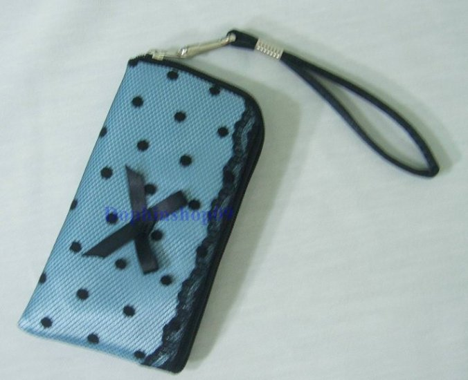 Blue Lace Cell Mobile Phone Bag Case  w/ Strap