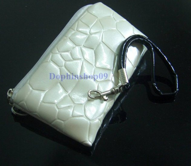 Beige Cell Mobile Phone Case Bag w/ Strap
