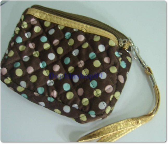Brown Colorful Dot Cosmetic Coin Bag Purse w/ Strap